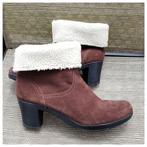 Clark's Suede Shearling Fold-Over Booties